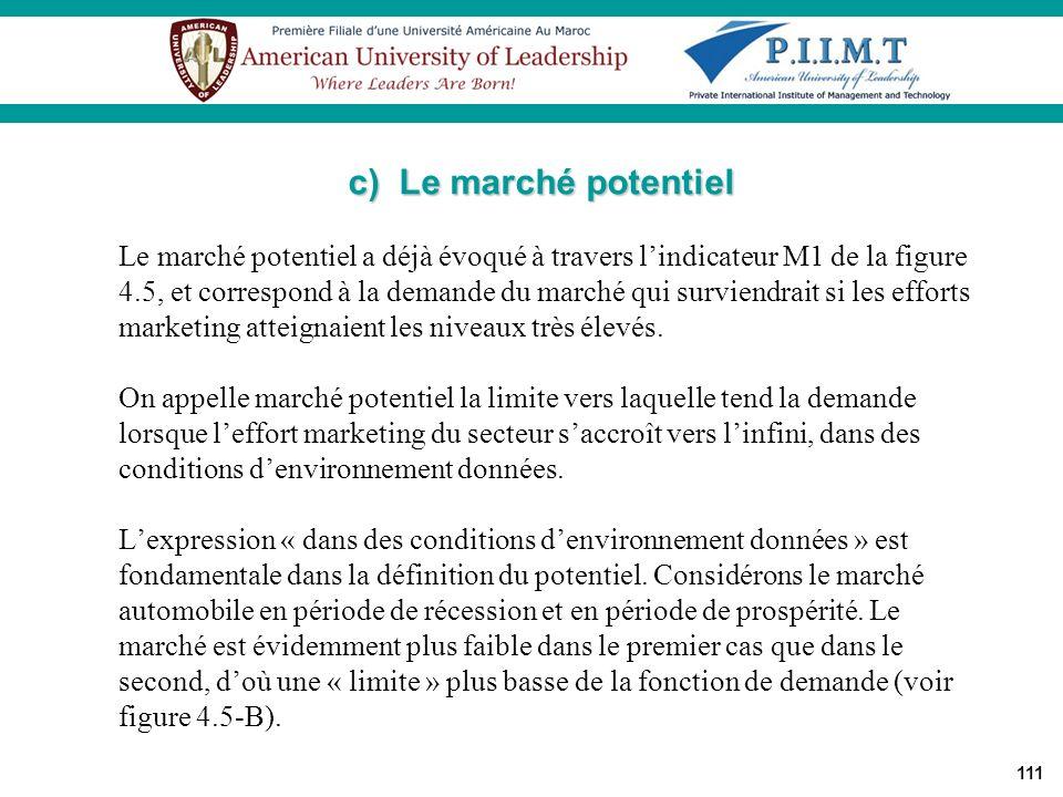111 Le marché potentiel a déjà évoqué à travers lindicateur M1 de la figure 4.5, et correspond à la demande du marché qui surviendrait si les efforts