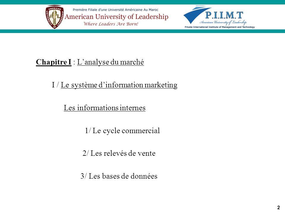 2 Chapitre I : Lanalyse du marché I / Le système dinformation marketing Les informations internes 1/ Le cycle commercial 2/ Les relevés de vente 3/ Le