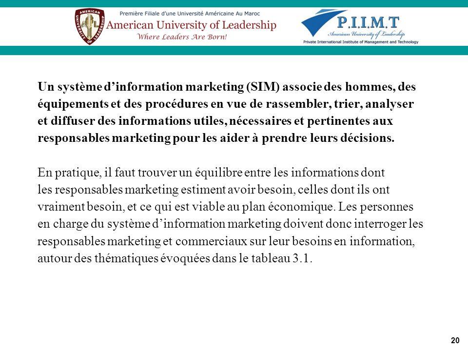 20 Un système dinformation marketing (SIM) associe des hommes, des équipements et des procédures en vue de rassembler, trier, analyser et diffuser des