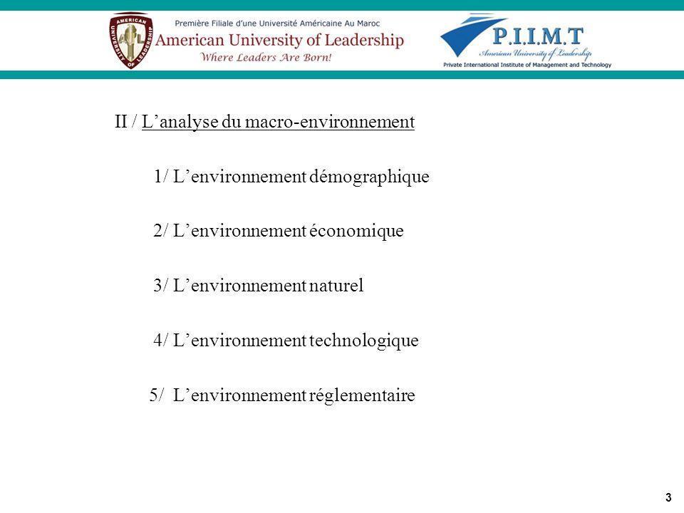 3 II / Lanalyse du macro-environnement 1/ Lenvironnement démographique 2/ Lenvironnement économique 3/ Lenvironnement naturel 4/ Lenvironnement techno