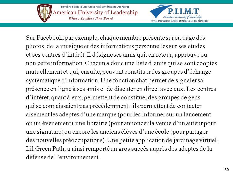 39 Sur Facebook, par exemple, chaque membre présente sur sa page des photos, de la musique et des informations personnelles sur ses études et ses cent