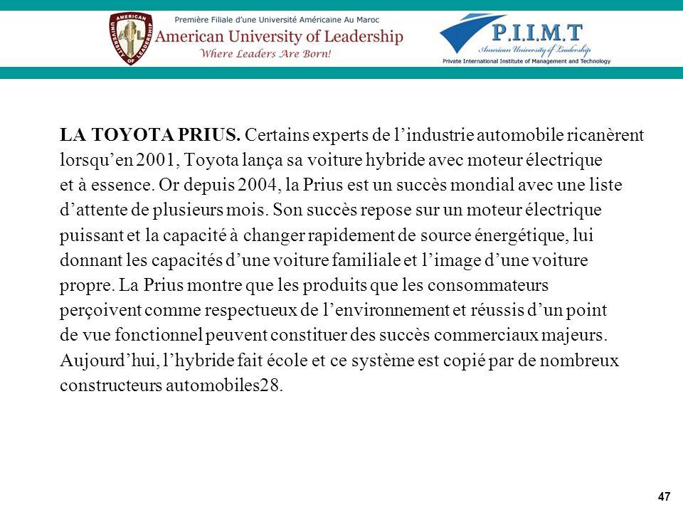 47 LA TOYOTA PRIUS. Certains experts de lindustrie automobile ricanèrent lorsquen 2001, Toyota lança sa voiture hybride avec moteur électrique et à es