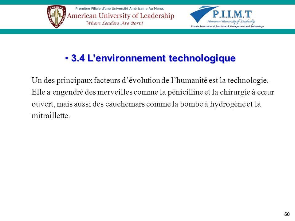 50 Un des principaux facteurs dévolution de lhumanité est la technologie. Elle a engendré des merveilles comme la pénicilline et la chirurgie à cœur o