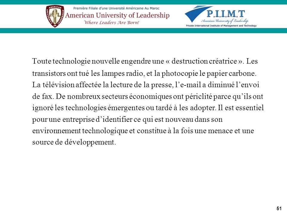 51 Toute technologie nouvelle engendre une « destruction créatrice ». Les transistors ont tué les lampes radio, et la photocopie le papier carbone. La