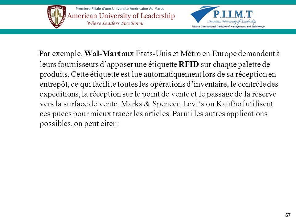 57 Par exemple, Wal-Mart aux États-Unis et Métro en Europe demandent à leurs fournisseurs dapposer une étiquette RFID sur chaque palette de produits.