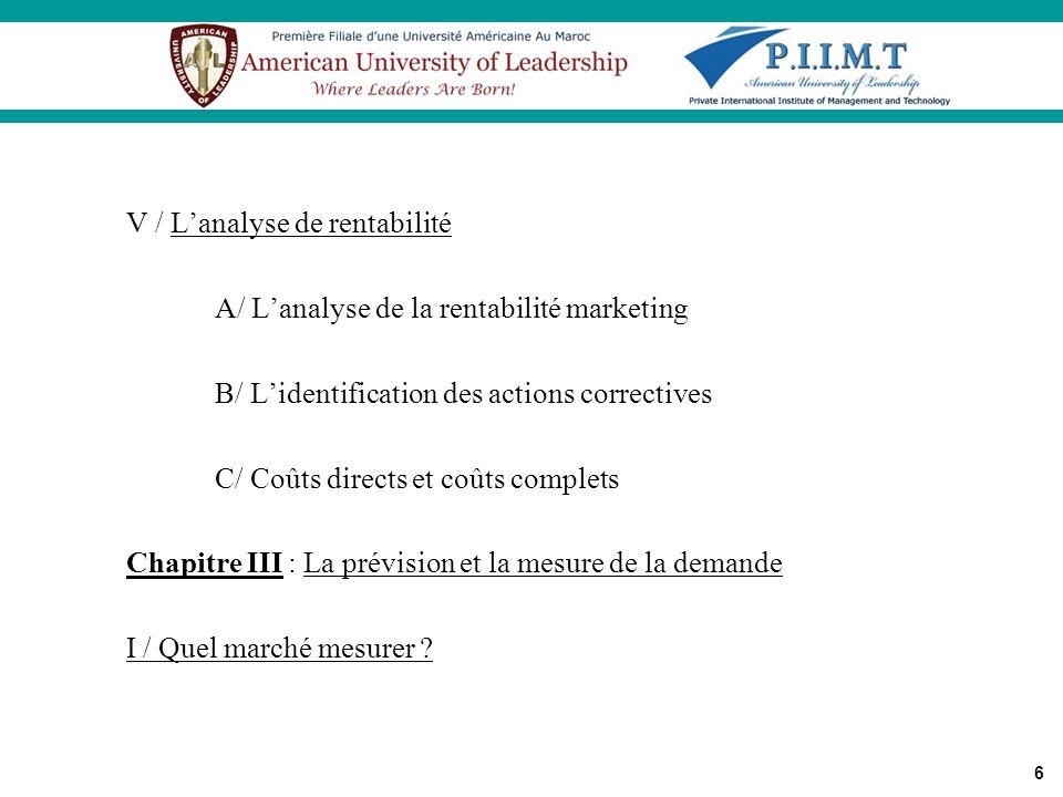 6 V / Lanalyse de rentabilité A/ Lanalyse de la rentabilité marketing B/ Lidentification des actions correctives C/ Coûts directs et coûts complets Ch