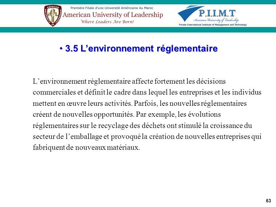 63 Lenvironnement réglementaire affecte fortement les décisions commerciales et définit le cadre dans lequel les entreprises et les individus mettent