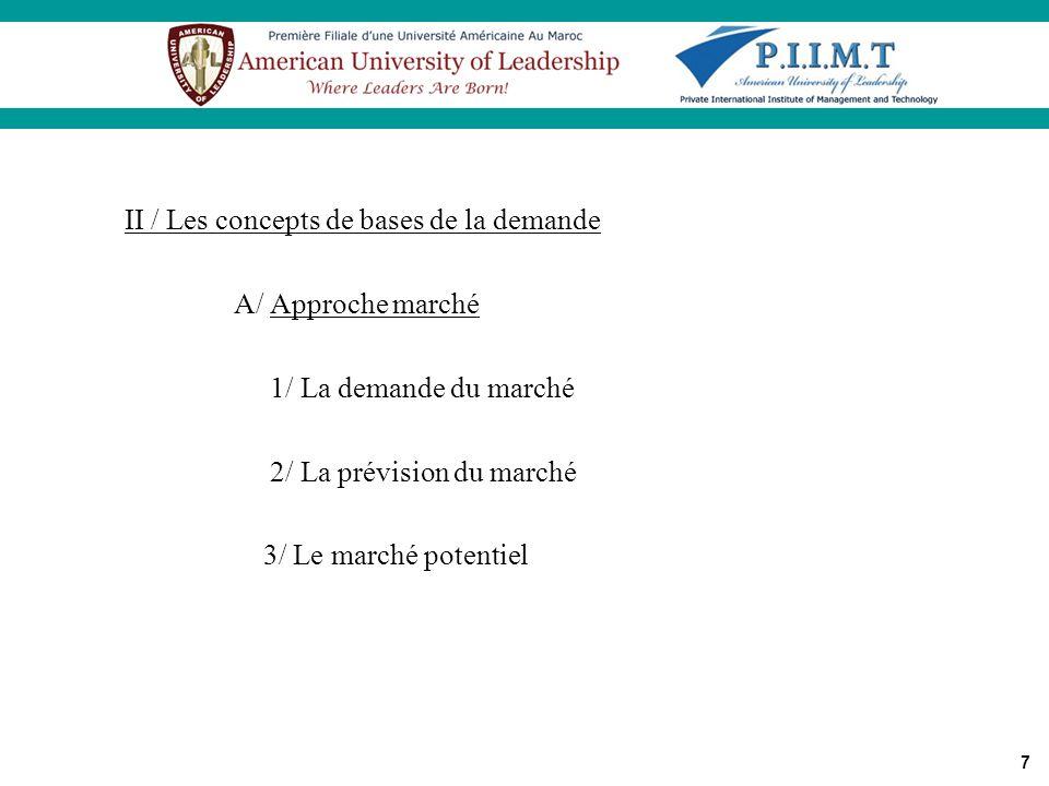 7 II / Les concepts de bases de la demande A/ Approche marché 1/ La demande du marché 2/ La prévision du marché 3/ Le marché potentiel Critères danaly