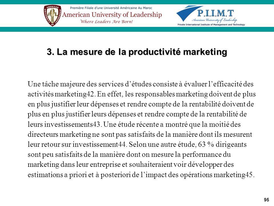 95 Une tâche majeure des services détudes consiste à évaluer lefficacité des activités marketing42. En effet, les responsables marketing doivent de pl