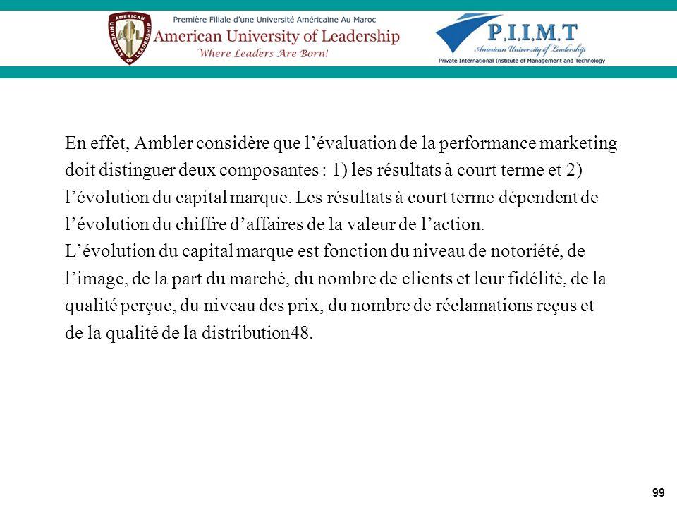 99 En effet, Ambler considère que lévaluation de la performance marketing doit distinguer deux composantes : 1) les résultats à court terme et 2) lévo