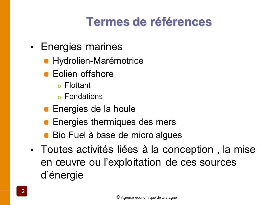 Termes de références Energies marines Hydrolien-Marémotrice Eolien offshore o Flottant o Fondations Energies de la houle Energies thermiques des mers