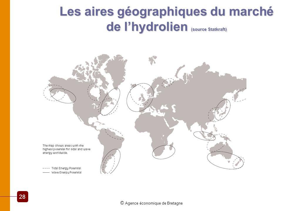 Les aires géographiques du marché de lhydrolien (source Statkraft) © Agence économique de Bretagne 28