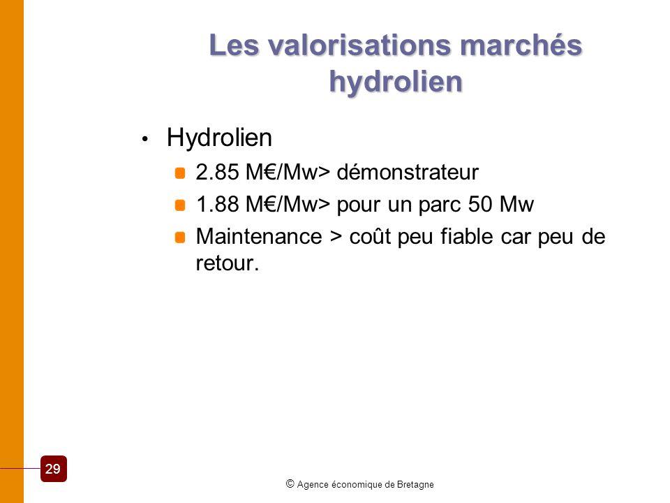 Les valorisations marchés hydrolien Hydrolien 2.85 M/Mw> démonstrateur 1.88 M/Mw> pour un parc 50 Mw Maintenance > coût peu fiable car peu de retour.