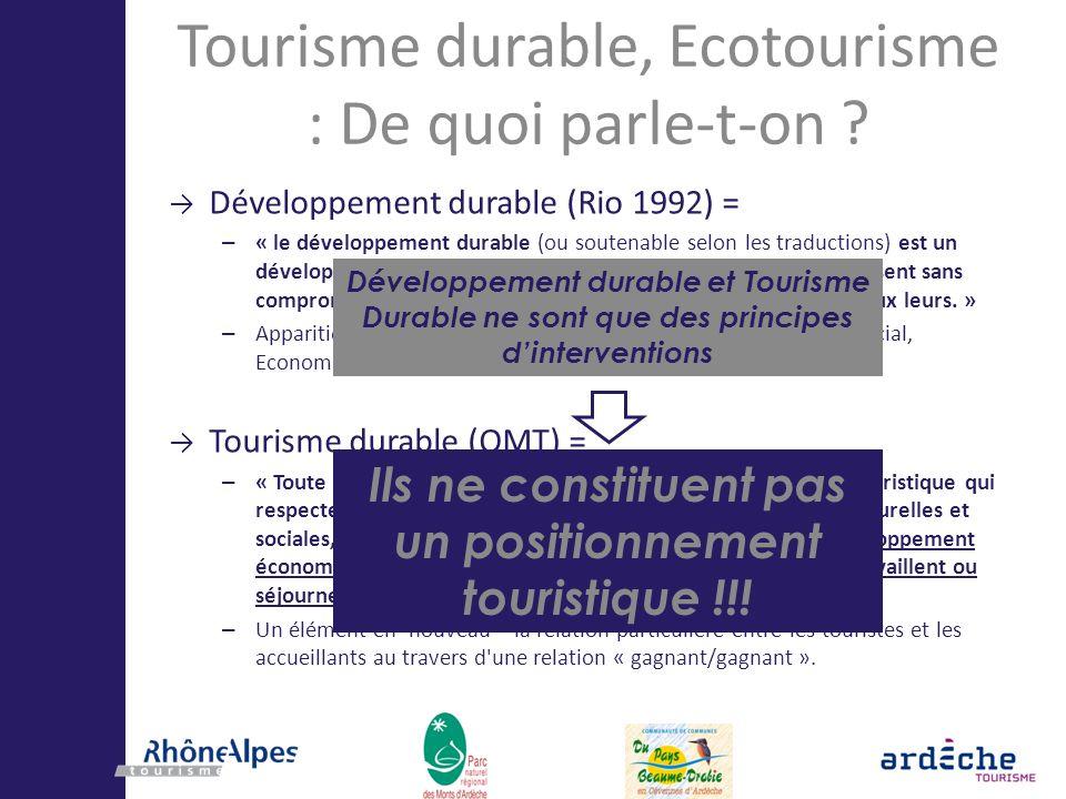 Tourisme durable, Ecotourisme : De quoi parle-t-on ? Développement durable (Rio 1992) = – « le développement durable (ou soutenable selon les traducti