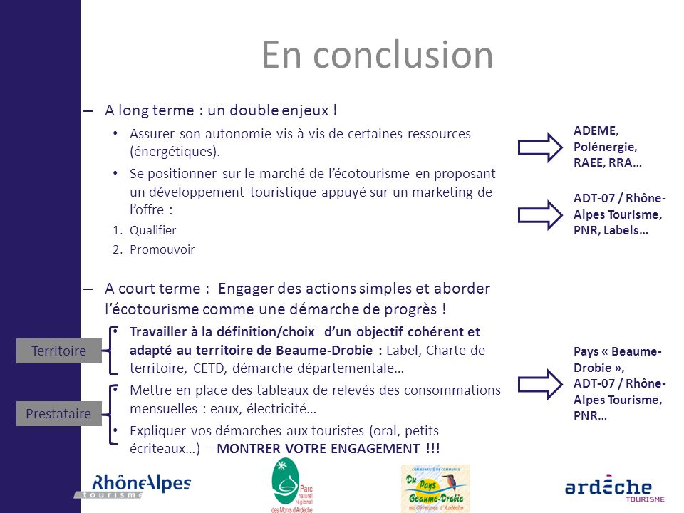 En conclusion – A long terme : un double enjeux ! Assurer son autonomie vis-à-vis de certaines ressources (énergétiques). Se positionner sur le marché