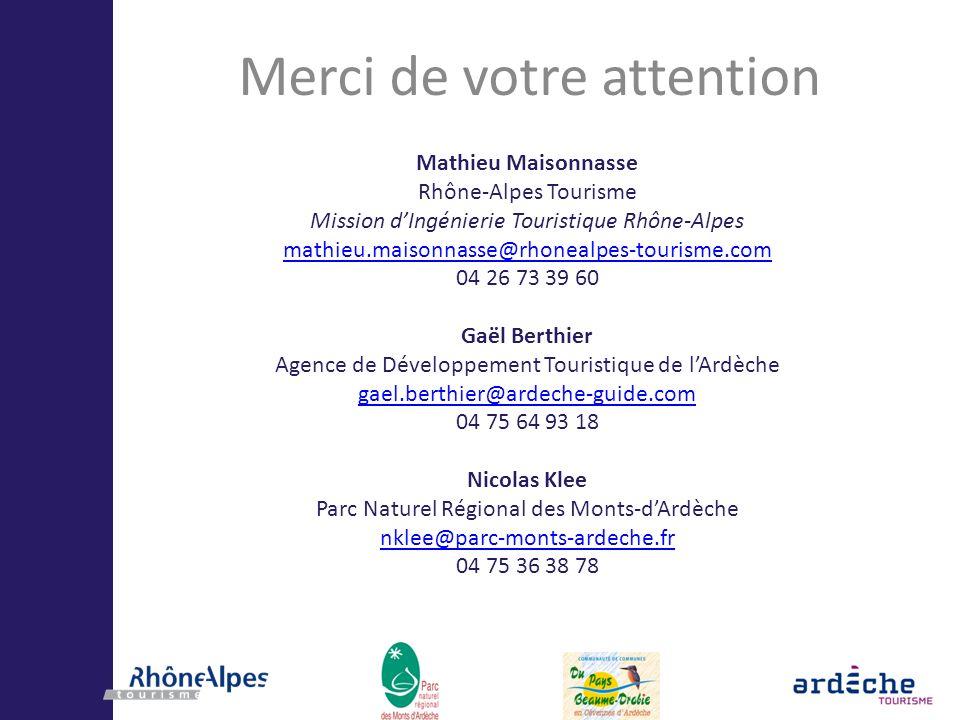 Merci de votre attention Mathieu Maisonnasse Rhône-Alpes Tourisme Mission dIngénierie Touristique Rhône-Alpes mathieu.maisonnasse@rhonealpes-tourisme.