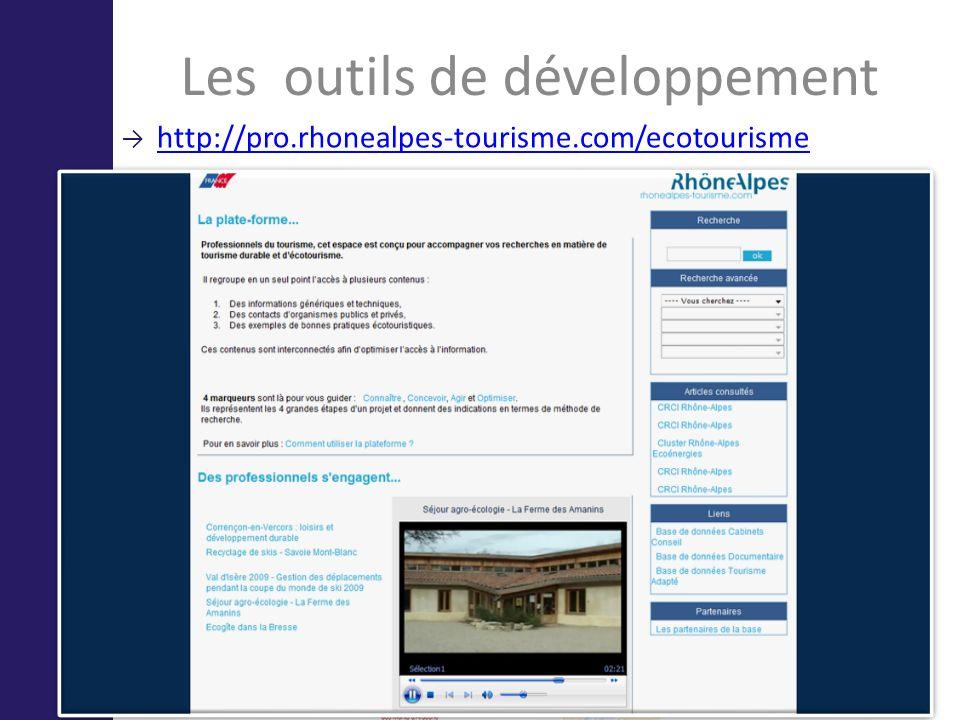 Les outils de développement http://pro.rhonealpes-tourisme.com/ecotourisme