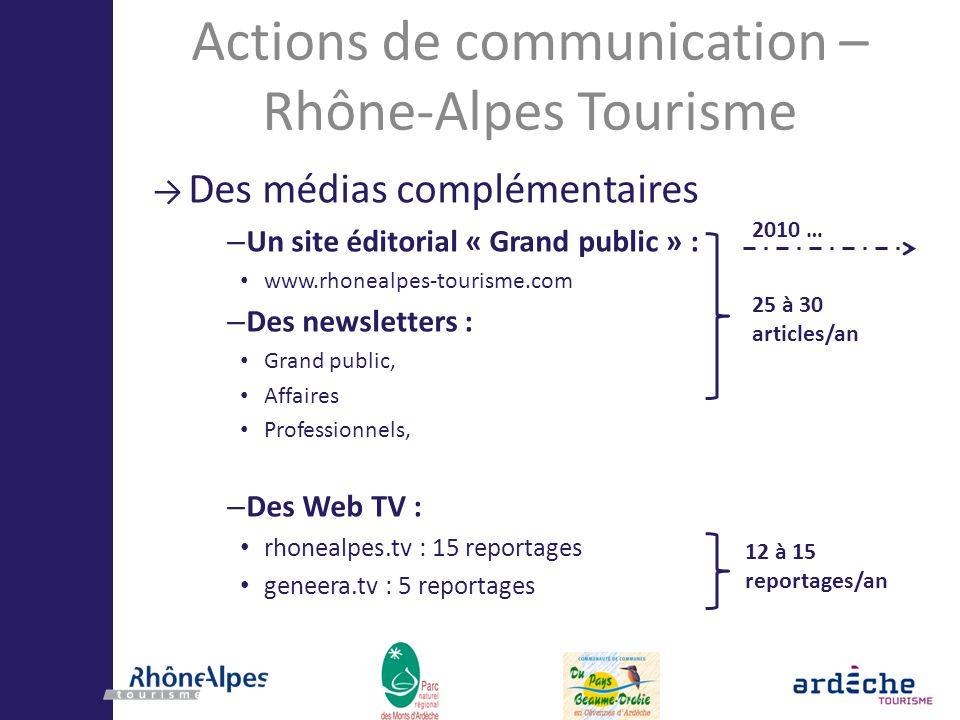 2010 … Actions de communication – Rhône-Alpes Tourisme Des médias complémentaires – Un site éditorial « Grand public » : www.rhonealpes-tourisme.com –