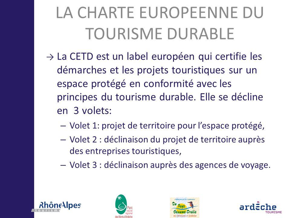 LA CHARTE EUROPEENNE DU TOURISME DURABLE La CETD est un label européen qui certifie les démarches et les projets touristiques sur un espace protégé en