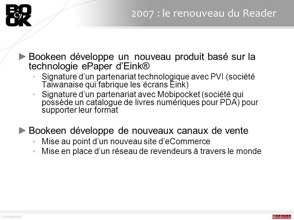 2007 : le renouveau du Reader Bookeen développe un nouveau produit basé sur la technologie ePaper dEink® Signature dun partenariat technologique avec