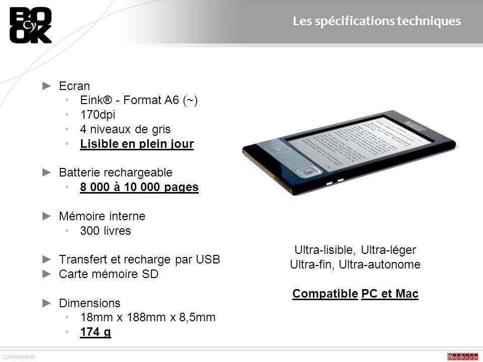 Ecran Eink® - Format A6 (~) 170dpi 4 niveaux de gris Lisible en plein jour Batterie rechargeable 8 000 à 10 000 pages Mémoire interne 300 livres Trans