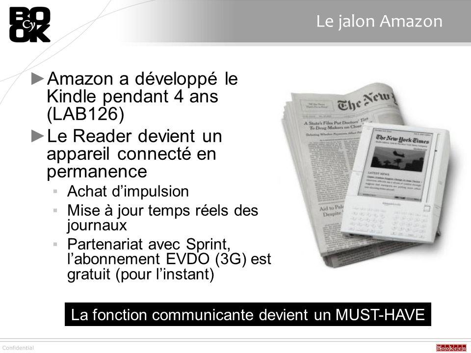 Le jalon Amazon Amazon a développé le Kindle pendant 4 ans (LAB126) Le Reader devient un appareil connecté en permanence Achat dimpulsion Mise à jour