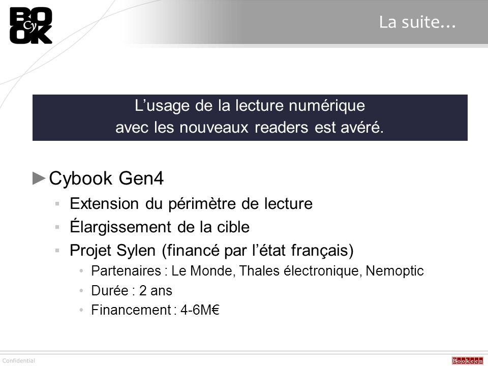 La suite… Cybook Gen4 Extension du périmètre de lecture Élargissement de la cible Projet Sylen (financé par létat français) Partenaires : Le Monde, Th
