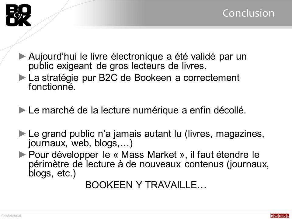 Conclusion Aujourdhui le livre électronique a été validé par un public exigeant de gros lecteurs de livres. La stratégie pur B2C de Bookeen a correcte
