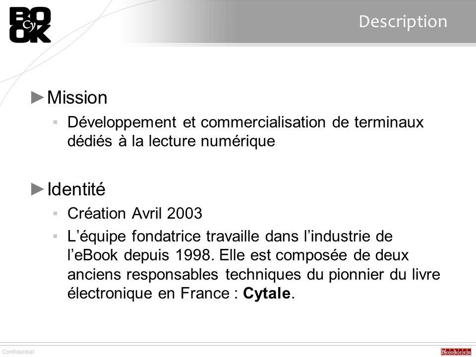 Description Mission Développement et commercialisation de terminaux dédiés à la lecture numérique Identité Création Avril 2003 Léquipe fondatrice trav