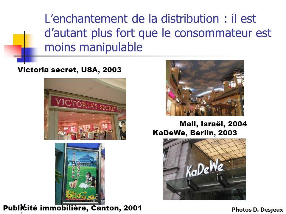 Lenchantement de la distribution : il est dautant plus fort que le consommateur est moins manipulable VicVic Victoria secret, USA, 2003 KaDeWe, Berlin, 2003 Publicité immobilière, Canton, 2001 Mall, Israël, 2004 Photos D.