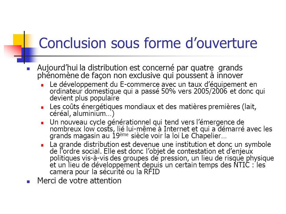 Conclusion sous forme douverture Aujourdhui la distribution est concerné par quatre grands phénomène de façon non exclusive qui poussent à innover Le