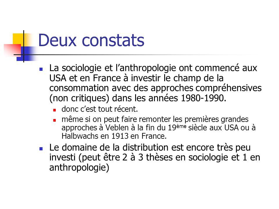 Deux constats La sociologie et lanthropologie ont commencé aux USA et en France à investir le champ de la consommation avec des approches compréhensives (non critiques) dans les années 1980-1990.