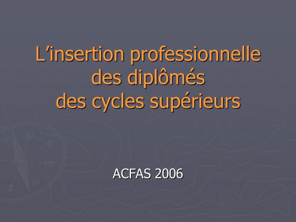 Linsertion professionnelle des diplômés des cycles supérieurs ACFAS 2006