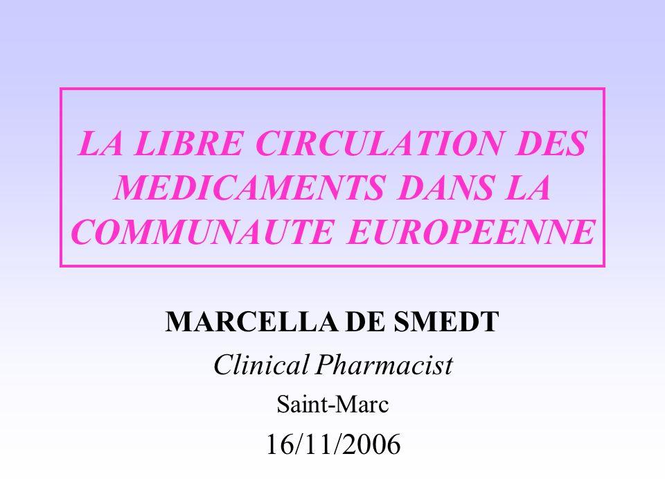 LA LIBRE CIRCULATION DES MEDICAMENTS DANS LA COMMUNAUTE EUROPEENNE MARCELLA DE SMEDT Clinical Pharmacist Saint-Marc 16/11/2006