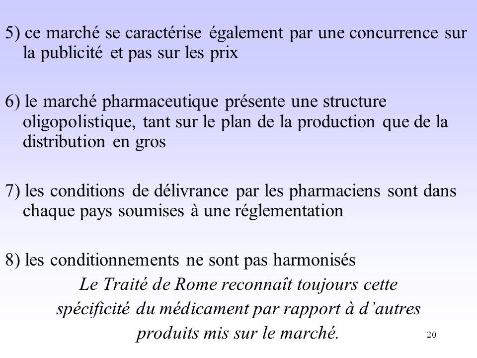 20 5) ce marché se caractérise également par une concurrence sur la publicité et pas sur les prix 6) le marché pharmaceutique présente une structure oligopolistique, tant sur le plan de la production que de la distribution en gros 7) les conditions de délivrance par les pharmaciens sont dans chaque pays soumises à une réglementation 8) les conditionnements ne sont pas harmonisés Le Traité de Rome reconnaît toujours cette spécificité du médicament par rapport à dautres produits mis sur le marché.