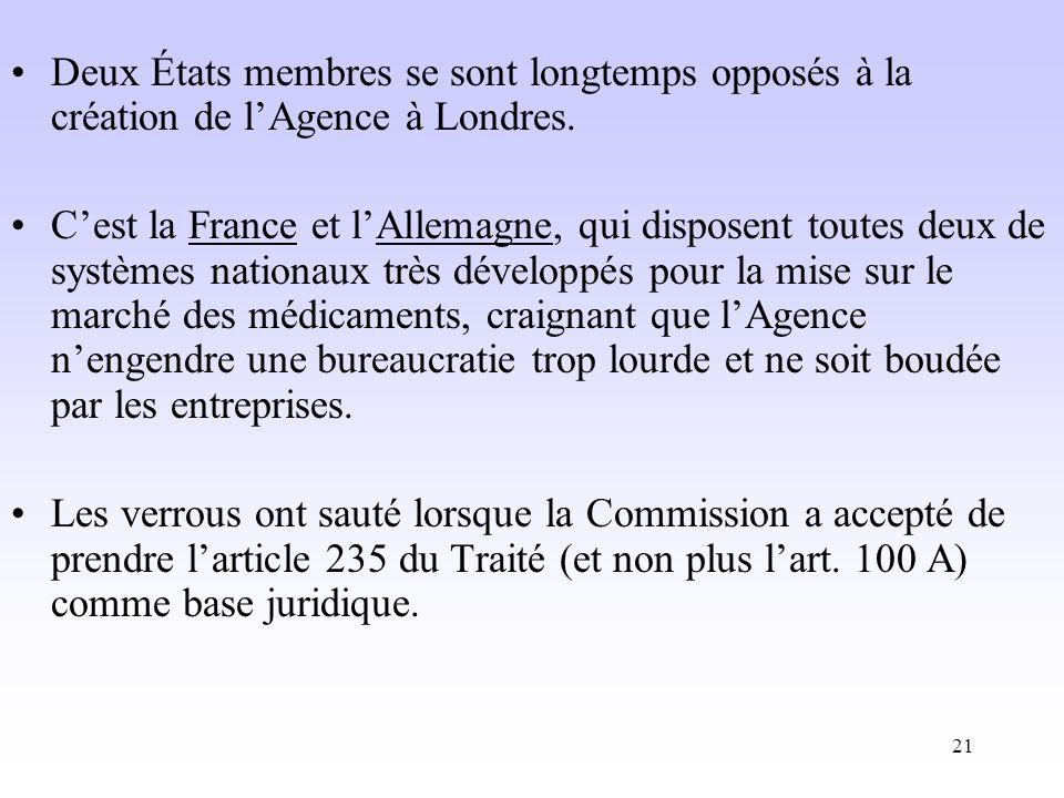 21 Deux États membres se sont longtemps opposés à la création de lAgence à Londres.
