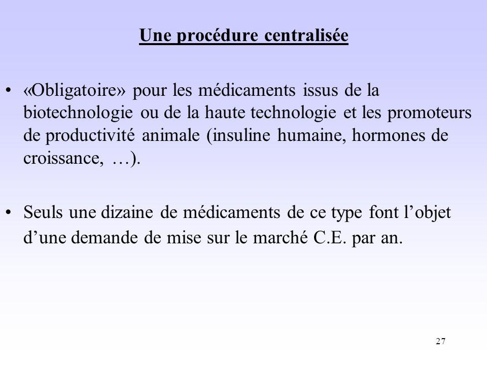 27 Une procédure centralisée «Obligatoire» pour les médicaments issus de la biotechnologie ou de la haute technologie et les promoteurs de productivité animale (insuline humaine, hormones de croissance, …).