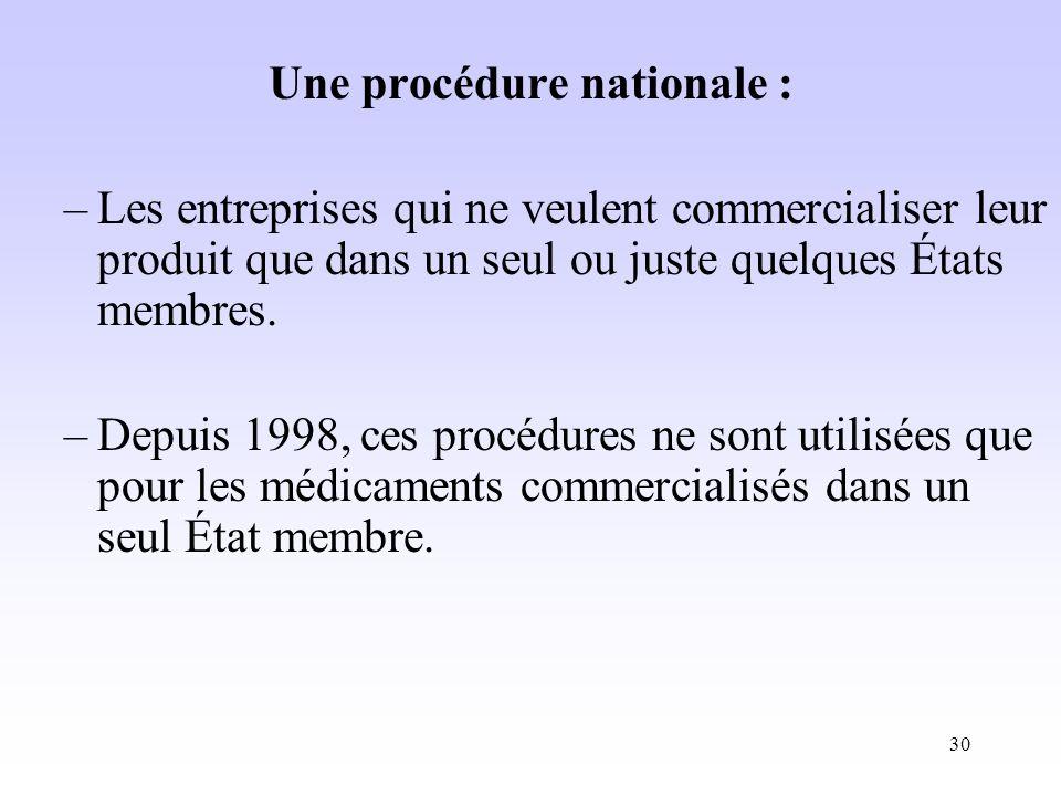 30 Une procédure nationale : –Les entreprises qui ne veulent commercialiser leur produit que dans un seul ou juste quelques États membres.