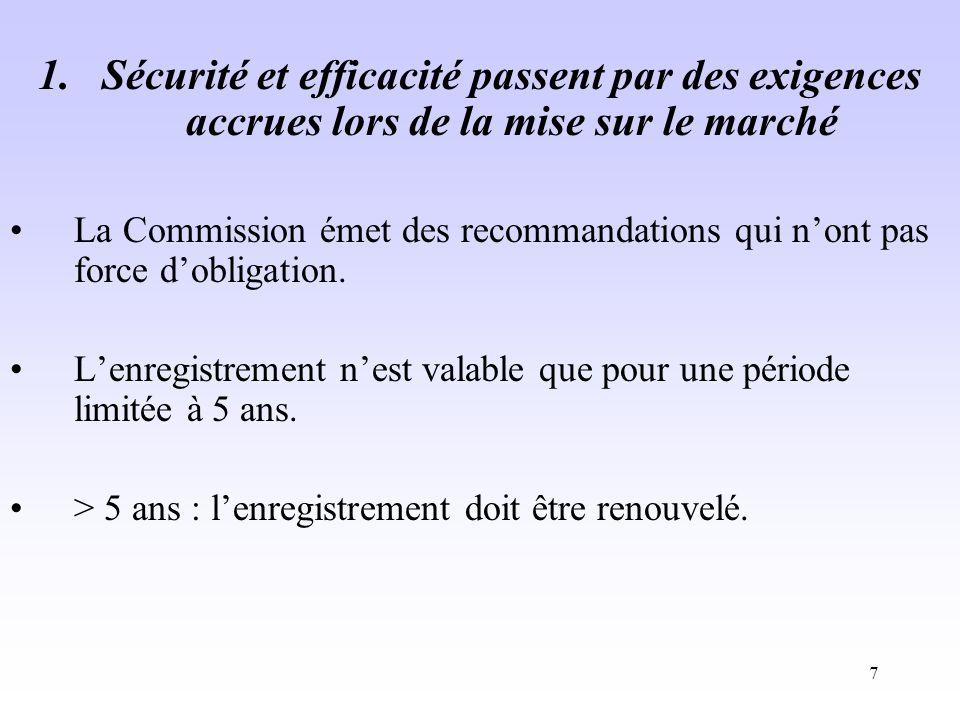 7 1.Sécurité et efficacité passent par des exigences accrues lors de la mise sur le marché La Commission émet des recommandations qui nont pas force dobligation.