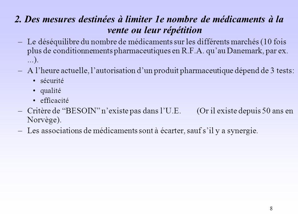 8 2. Des mesures destinées à limiter 1e nombre de médicaments à la vente ou leur répétition –Le déséquilibre du nombre de médicaments sur les différen