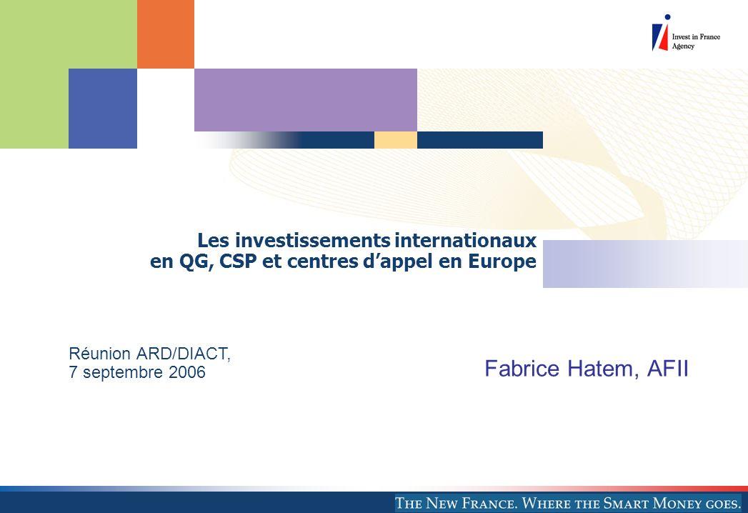 Les investissements internationaux en QG, CSP et centres dappel en Europe Fabrice Hatem, AFII Réunion ARD/DIACT, 7 septembre 2006