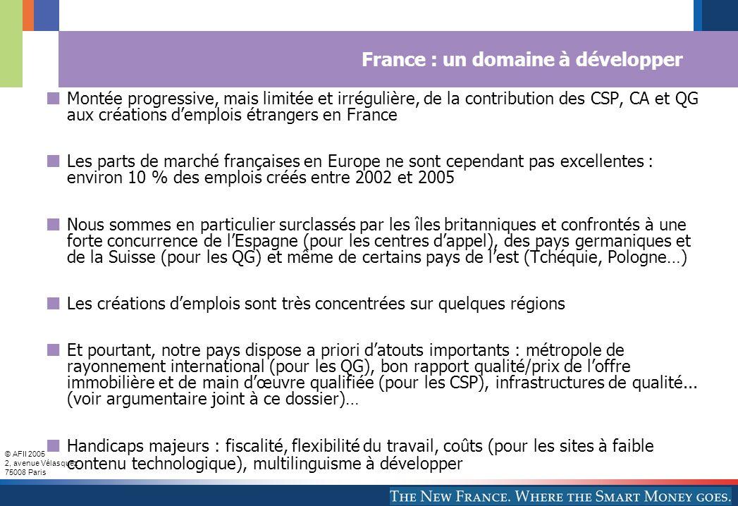 © AFII 2005 2, avenue Vélasquez 75008 Paris France : un domaine à développer Montée progressive, mais limitée et irrégulière, de la contribution des C