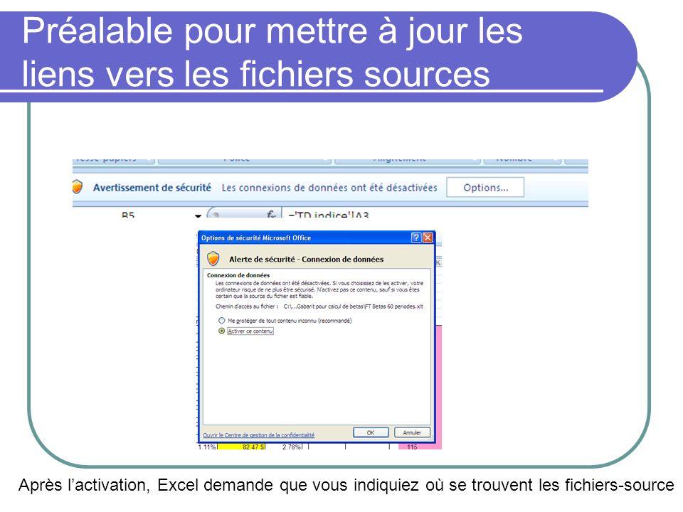 Préalable pour mettre à jour les liens vers les fichiers sources Après lactivation, Excel demande que vous indiquiez où se trouvent les fichiers-sourc