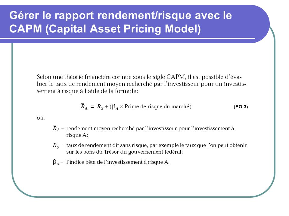 Gérer le rapport rendement/risque avec le CAPM (Capital Asset Pricing Model)