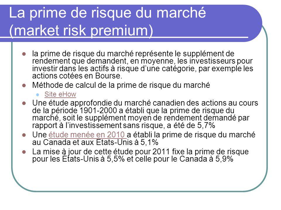 La prime de risque du marché (market risk premium) la prime de risque du marché représente le supplément de rendement que demandent, en moyenne, les i