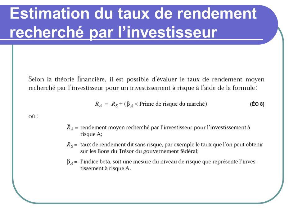 Estimation du taux de rendement recherché par linvestisseur
