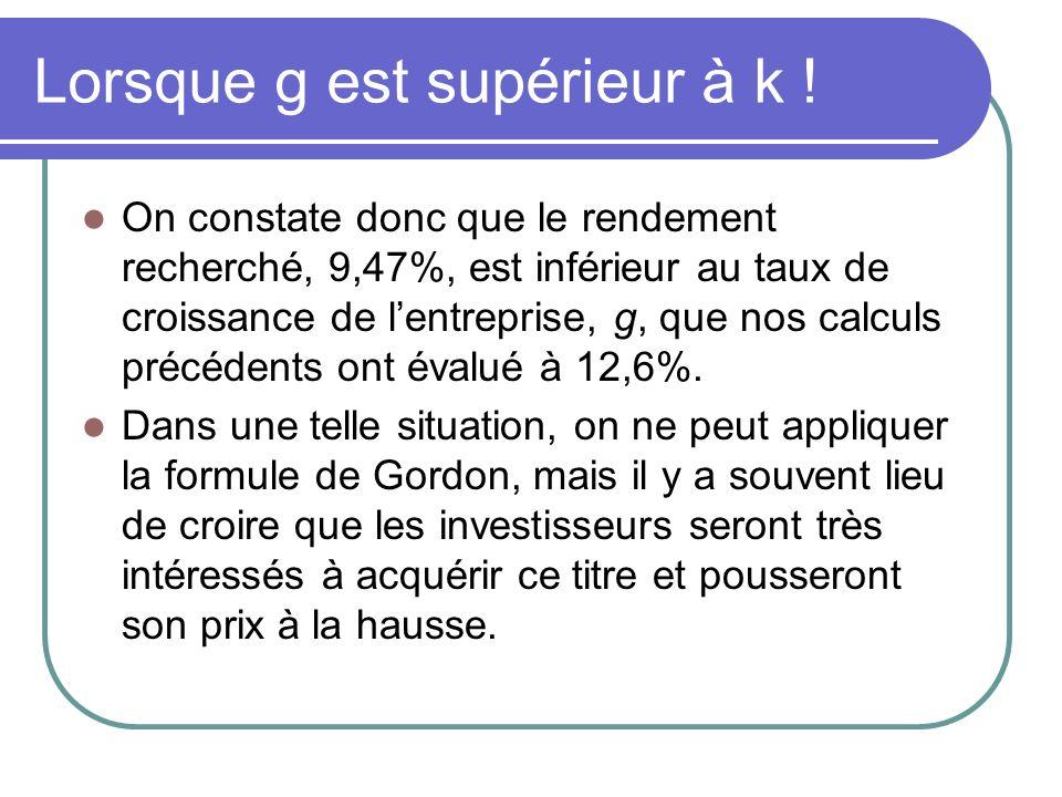 Lorsque g est supérieur à k ! On constate donc que le rendement recherché, 9,47%, est inférieur au taux de croissance de lentreprise, g, que nos calcu