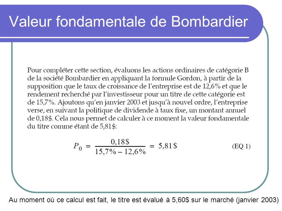 Valeur fondamentale de Bombardier Au moment où ce calcul est fait, le titre est évalué à 5,60$ sur le marché (janvier 2003)