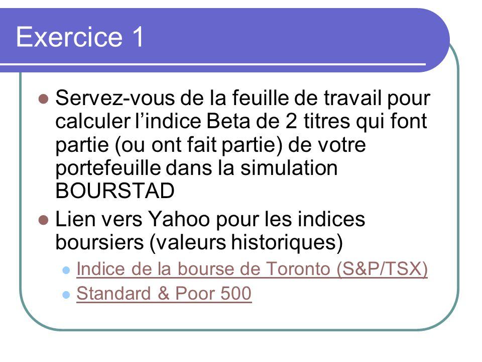 Exercice 1 Servez-vous de la feuille de travail pour calculer lindice Beta de 2 titres qui font partie (ou ont fait partie) de votre portefeuille dans