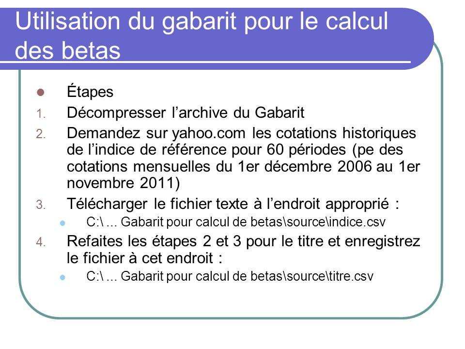 Utilisation du gabarit pour le calcul des betas Étapes 1. Décompresser larchive du Gabarit 2. Demandez sur yahoo.com les cotations historiques de lind